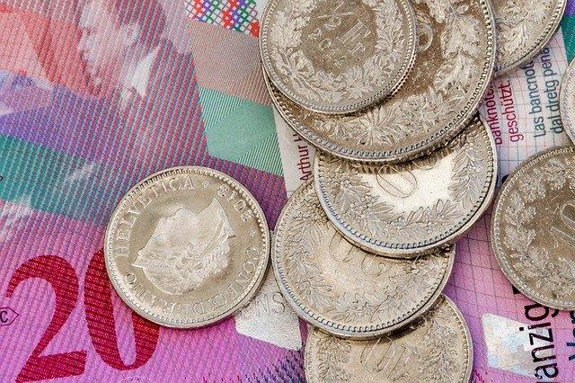 švýcarská měna, mince, detail